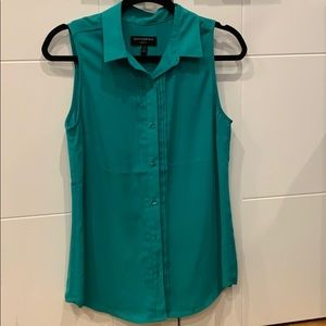 Turquoise button down tank top